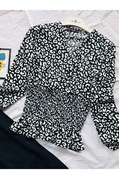 Kadın Siyah Kruvaze Leopar Desen Bluz