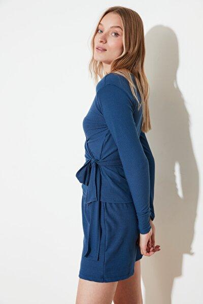 Mavi Bağlama Detaylı Örme Pijama Takımı THMSS21PT0267