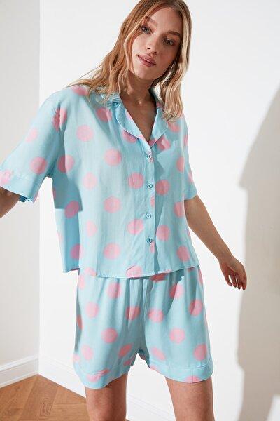 Mavi Puantiyeli Dokuma Pijama Takımı THMSS21PT0294