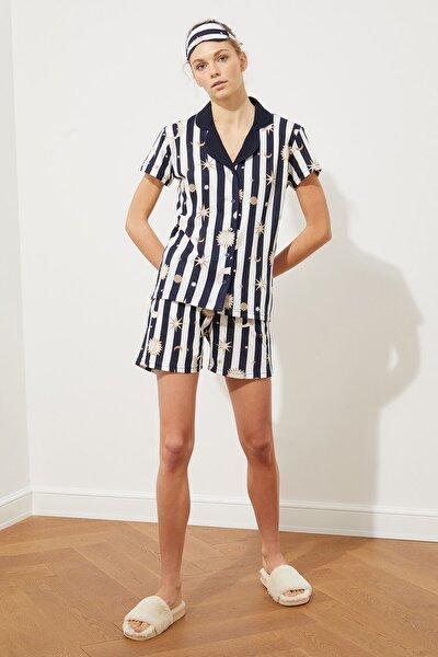 Lacivert Baskılı Örme Pijama Takımı THMSS21PT0800