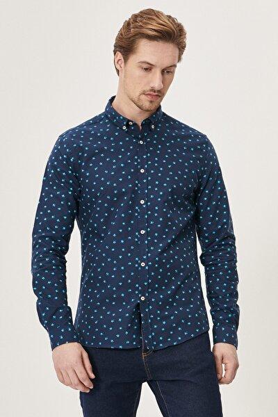 Erkek Lacivert Tailored Slim Fit Düğmeli Yaka Baskılı %100 Koton Gömlek