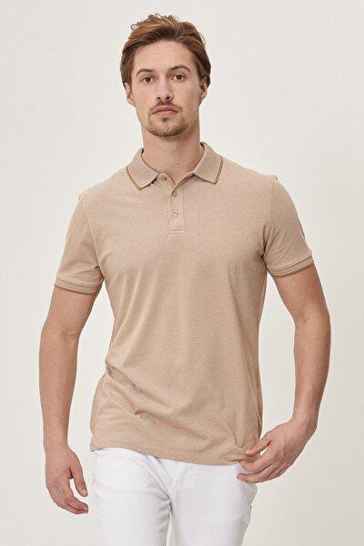Erkek Vizon Düğmeli Polo Yaka Cepsiz Slim Fit Dar Kesim Düz Tişört