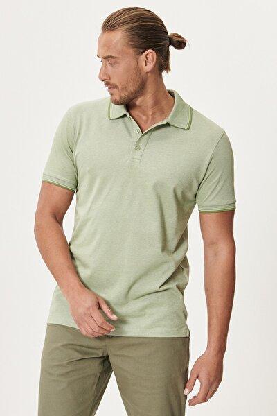 Erkek Yeşil Düğmeli Polo Yaka Cepsiz Slim Fit Dar Kesim Düz Tişört