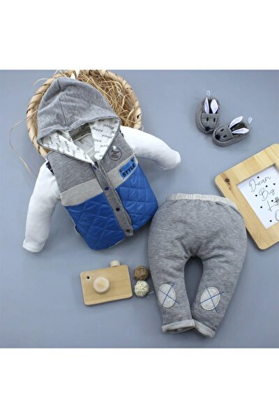Erkek Bebek Gri Şişme Yelekli 3 Lü Bebek Takımı 3035