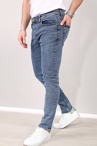 Erkek Mavi Slimfit Likralı Kot Pantolon