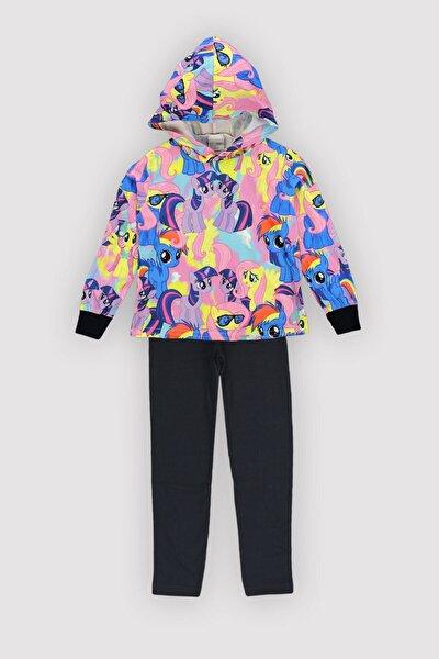 4 Mevsim Kız Çocuk Likralı Emp Polyester Pamuk Karışım Kapşonlu Ince Unicorn Taytlı Takım 12350
