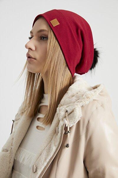 Kadın Kırmızı Kürk Ponpon Detaylı Şapka Bere