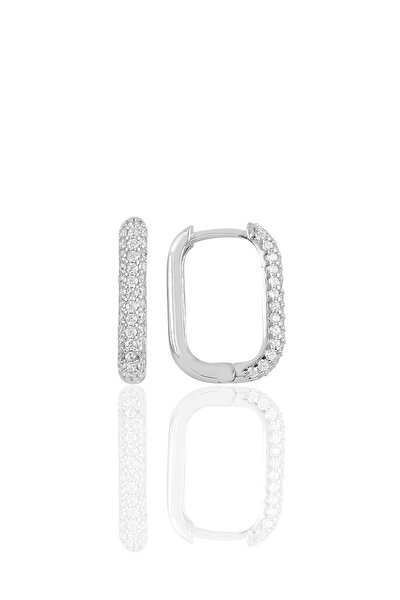 Gümüş Rodyumlu Zirkon Taşlı Trend Küpe.