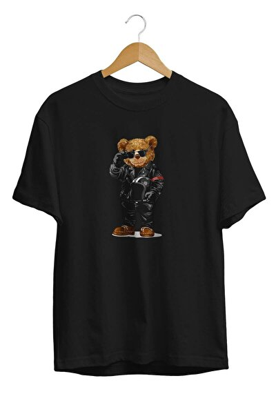 Motosikletli Cool Ayı Teddy Bear Tişörtü