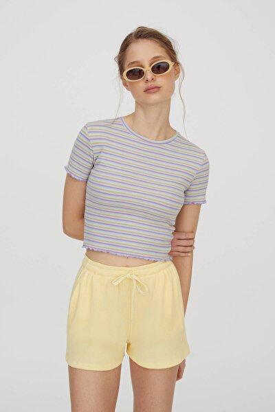 Kadın Lavanta Rengi Kare Dokulu Çizgili T-Shirt 04240369