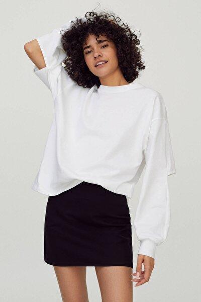 Kadın Beyaz Pencere Detaylı Sweatshirt 04591388