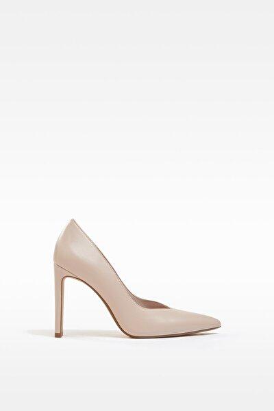 Kadın Bej V Kesim Topuklu Ayakkabı 11308760