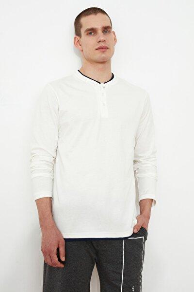 Krem Erkek Uzun Kollu Düğme Yakalı Slim Fit T-Shirt TMNSS20TS0015