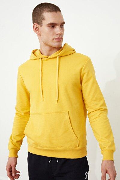 Hardal Erkek Regular Fit Kapüşonlu Uzun Kollu Kanguru Cepli Sweatshirt TMNAW20SW0163