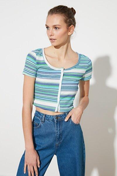 Çok Renkli Çizgili Geniş Yaka Örme Bluz TWOSS21BZ1101