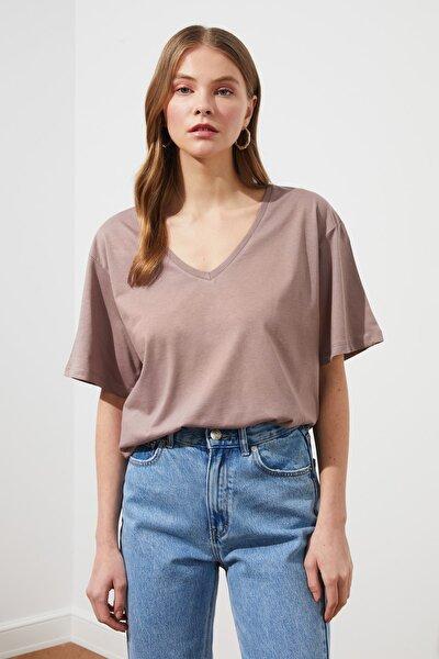 Vizon %100 Pamuk Süprem V Yaka Boyfriend Örme T-Shirt TWOSS20TS0132