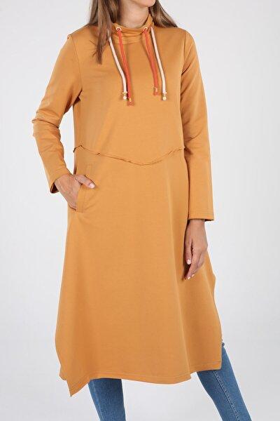Açık Hardal Renkli Bağcık Detay Cepli Elbise Tunik
