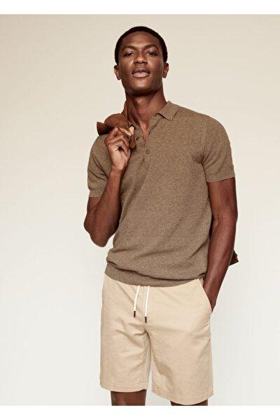 Erkek Bakır  Pamuk Keten Karışımlı Polo Gömlek