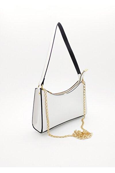 Kadın Beyaz Elde Omuzda Baget Çanta
