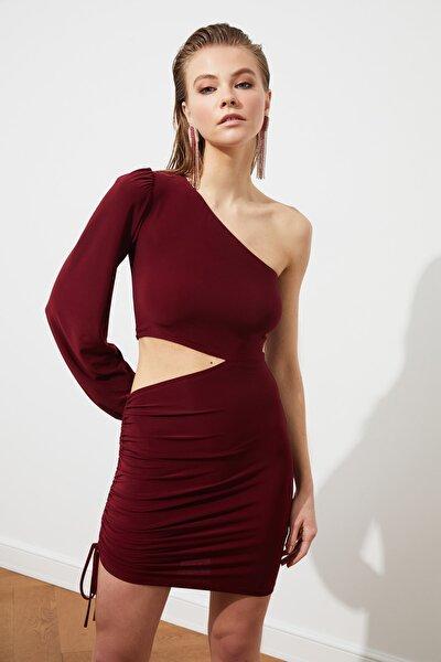 Bordo Kol Detaylı Elbise TPRSS21EL0179
