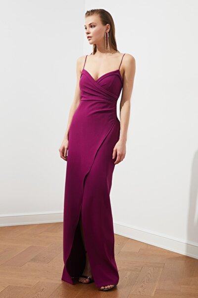 Mürdüm Yaka Detaylı Abiye & Mezuniyet Elbisesi TPRSS21AE0045