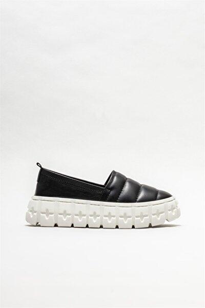Kadın Siyah Deri Sneaker