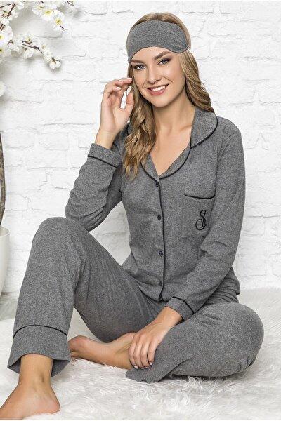Kadın Gri  Önden Düğmeli Rahat Kesim Pijama Takımı