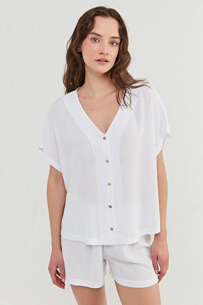 Beyaz Bridal Crinkle Gömlek Şort Takımı