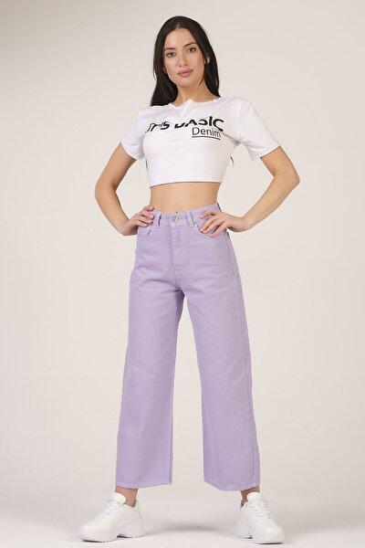 Kadın Lila Wide Leg Kalıp Yüksek Bel Jean
