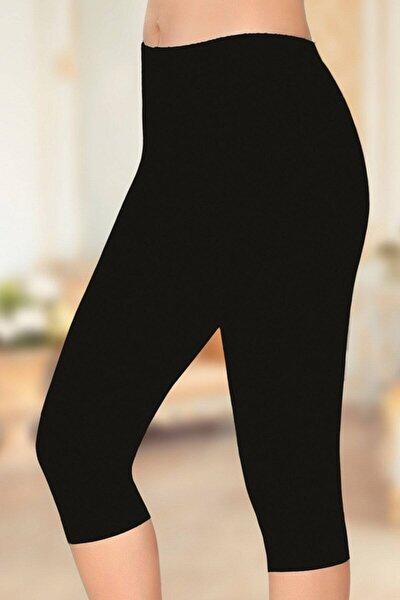Kadın Siyah Kısa Pamuklu Tayt