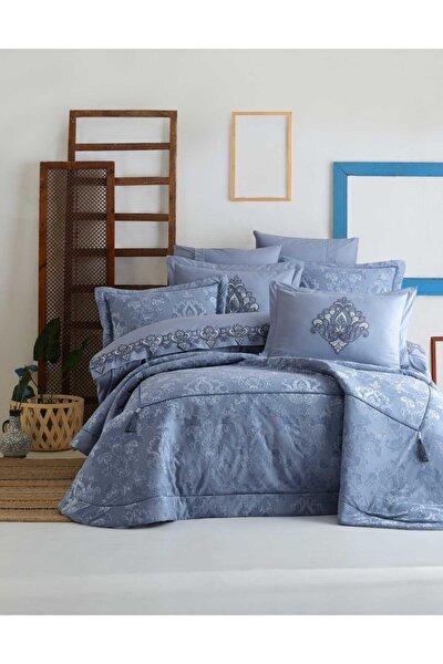 Mavi Rita Nevresimli Çift Kişilik Yatak Örtüsü Seti
