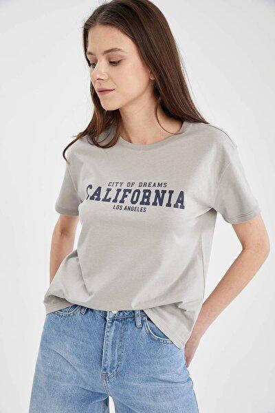 Kadın Gri Slogan Baskılı Relax Fit Kısa Kollu T-Shirt