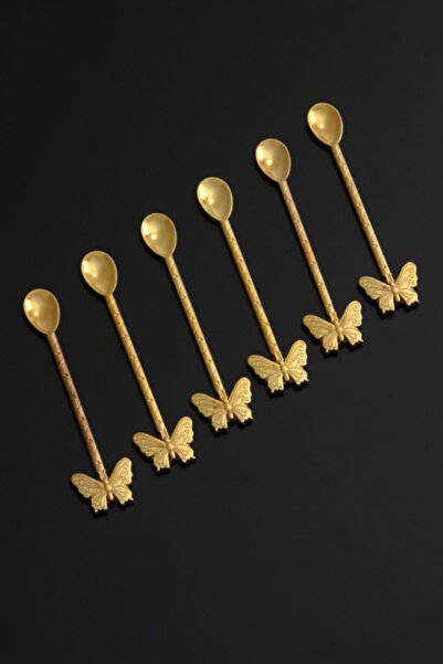 6 Kişilik Kelebekli Lüx Çay Kaşığı Gold