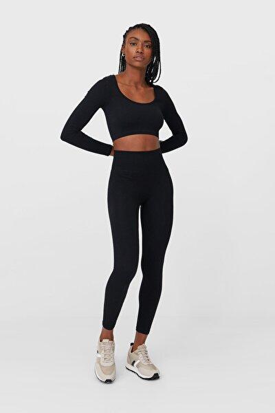 Kadın Siyah Dikişsiz Tayt 04630524