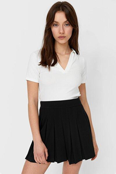 Kadın Beyaz Basic Crop Fit Polo T-Shirt 02550550
