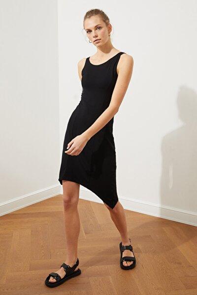 Siyah Asimetrik Mini Örme Elbise TWOSS21EL3041