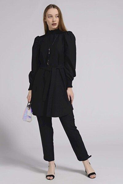 Kadın Siyah Kolları Ve Boynu Büzgü Detaylı Tunik Takım