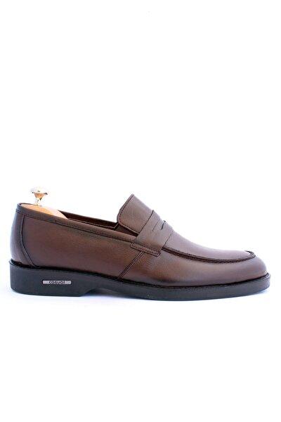Erkek Kahverengi  Hakiki Deri Bağcıksız  Ayakkabı 506