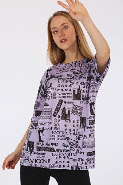 Gazete Baskılı Oversize Tshirt 4299