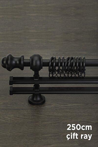 Siyah Ahşap Rustik Çift Raylı Perde Askısı Venti 250 Cm