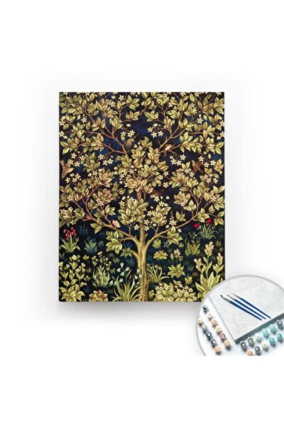 William Morris Tree Of Life  Tuval Üzerine Sayılarla Boyama 40x50cm Kasnaklı
