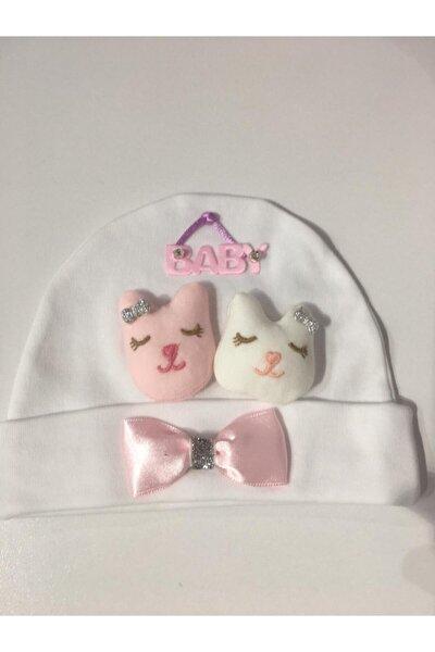 Kız Bebek Beyaz Kardeşler Kids Oyuncaklı  Şapka
