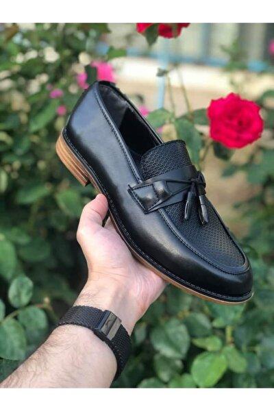 Siyah-mat Erkek Püskürlü Klasik Ayakkabı