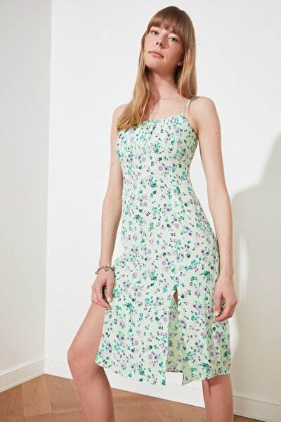 Mint Askılı Yırtmaç Detaylı Elbise TWOSS21EL2311