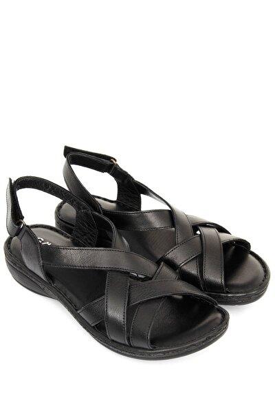 Hakiki Deri Siyah Kadın Sandalet 45041