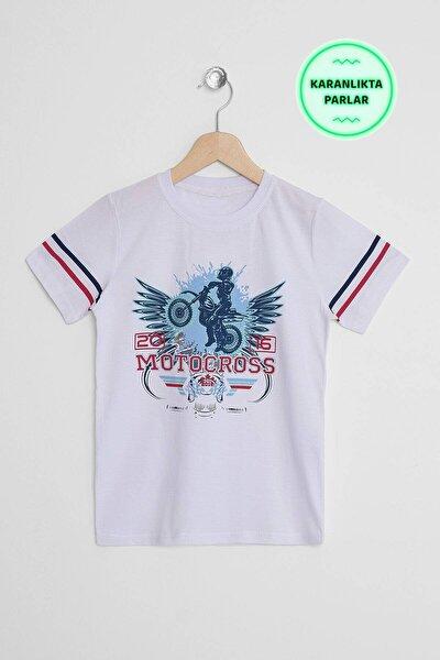 Erkek Çocuk Beyaz Karanlıkta Parlayan T-Shirt 8-12 Yaş