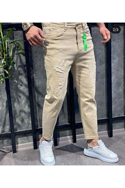 Erkek Bej Boyfriend Kot Pantolon