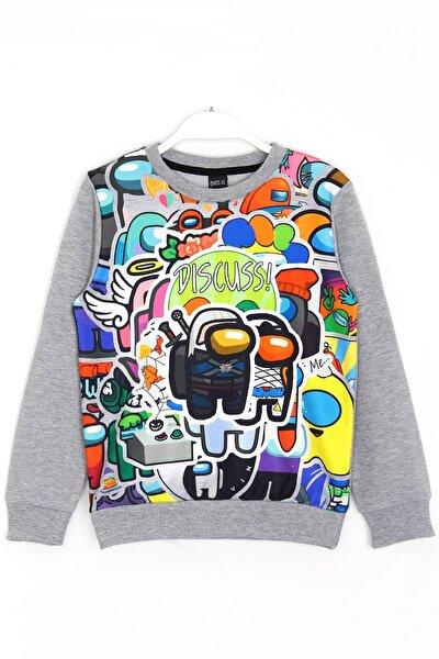 Erkek Çocuk Gri 3d Dijital Baskı Sweatshirt