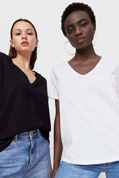 Kadın 2'li Basic V Yaka T-Shirt Paketi