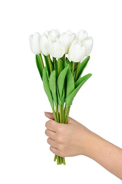 Demet Islak Lale Yapay Çiçek Beyaz Renk